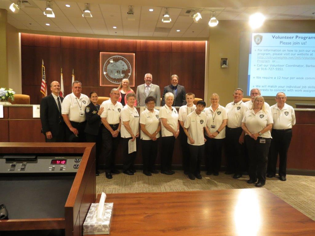 Citrus Heights Volunteers accepting Volunteer Proclamation