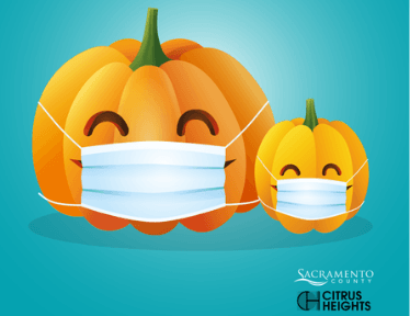 Cartoon of pumpkins wearing masks with the Sac County and Citrus Heights logos