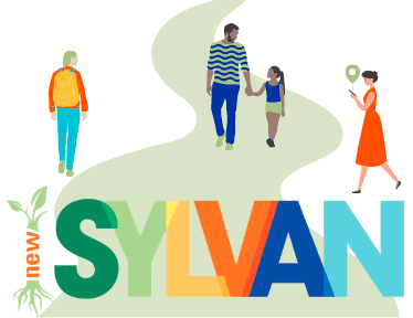 "Cartoon people walking, and a logo that says ""New Sylvan"""