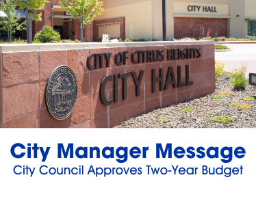"Image of City Hall building with text that says ""City Manager Message"""