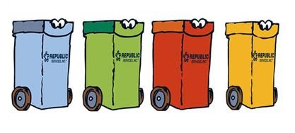 Cartoon garbage cans