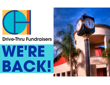 "Image of the community center clock tower and text that says ""We're Back!"""